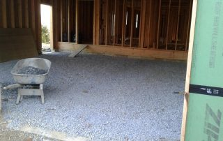 Beginning stages of a concrete garage floor